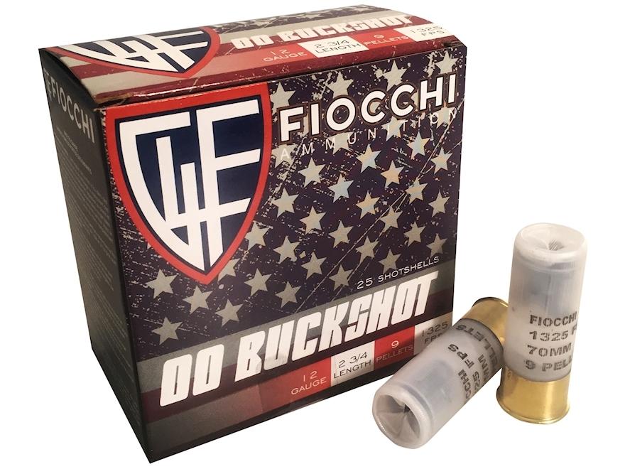 """Fiocchi Ammunition 12 Gauge 2-3/4"""" 00 Buckshot 9 Pellets High Brass"""