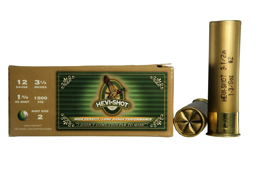 "Hevi-Shot Duck Waterfowl Ammunition 12 Gauge 3-1/2"" 1-3/8 oz #2 Non-Toxic Shot"