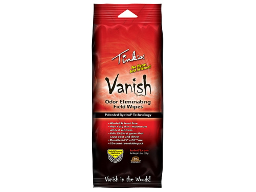 Tink's Vanish Scent Eliminator Field Wipes Pack of 20