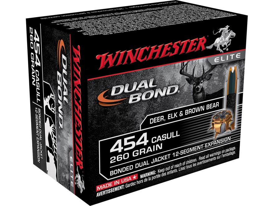 Winchester Dual Bond Ammunition 454 Casull 260 Grain Jacketed Hollow Point