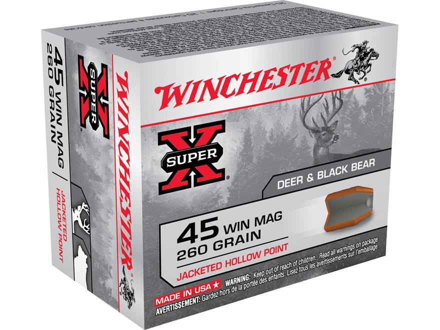 Winchester Super-X Ammunition 45 Winchester Magnum 260 Grain Power Point