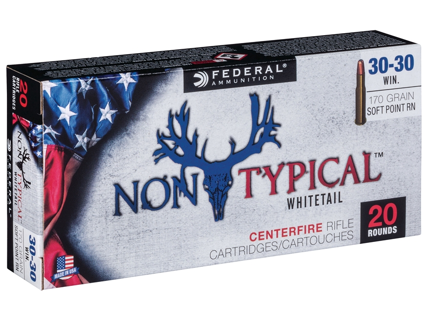 Federal Non-Typical Ammunition 30-30 Winchester 170 Grain Soft Point Round Nose Box of 20