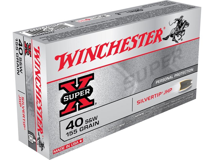 Winchester Super-X Ammunition 40 S&W 155 Grain Silvertip Hollow Point Box of 50