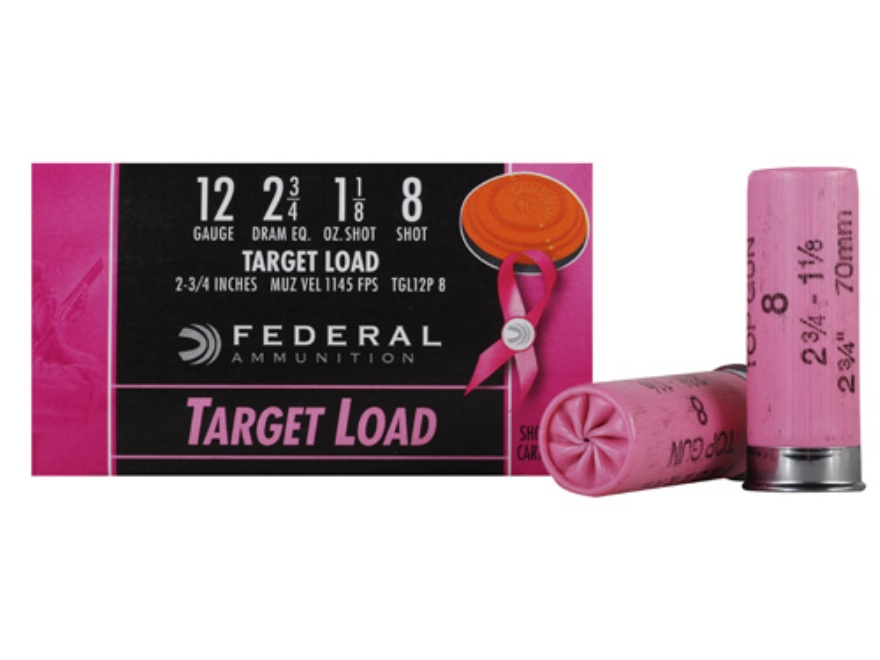 "Federal Top Gun Ammunition 12 Gauge 2-3/4"" 1-1/8 oz #8 Shot Pink Hull"