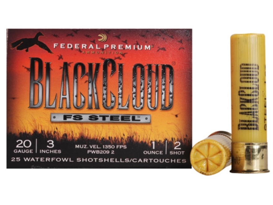 "Federal Premium Black Cloud Ammunition 20 Gauge 3"" 1 oz #2 Non-Toxic FlightStopper Stee..."