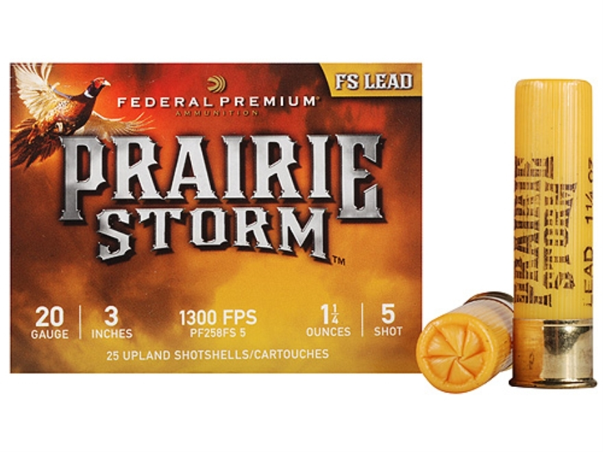"Federal Premium Prairie Storm Ammunition 20 Gauge 3"" 1-1/4 oz #5 Plated Shot Box of 25"