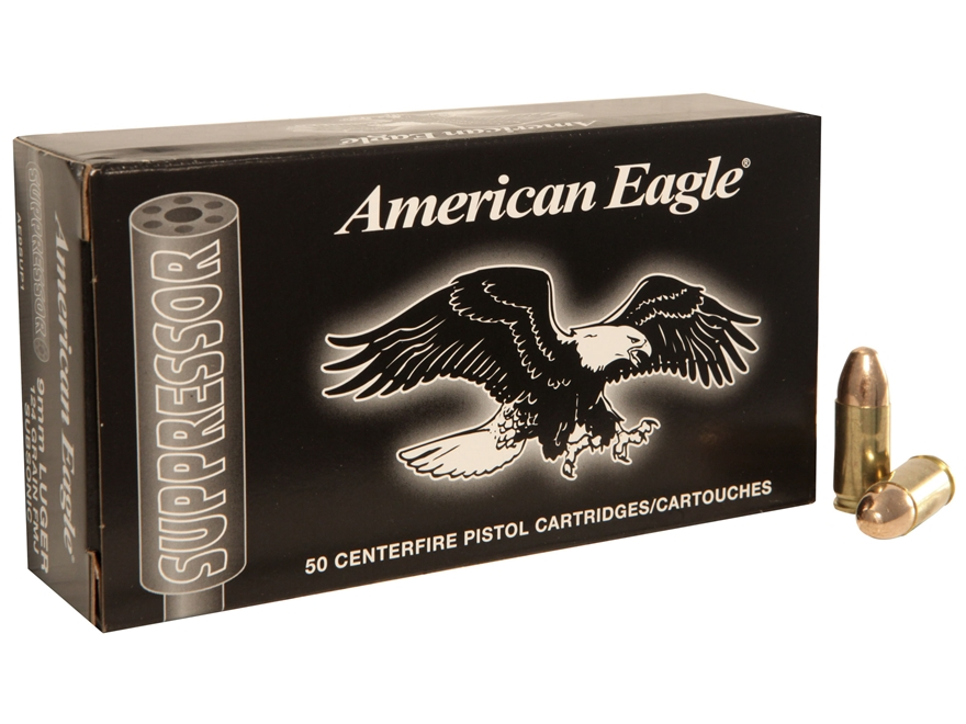 Federal American Eagle Suppressor Ammunition 9mm Luger Subsonic 124 Grain Full Metal Ja...