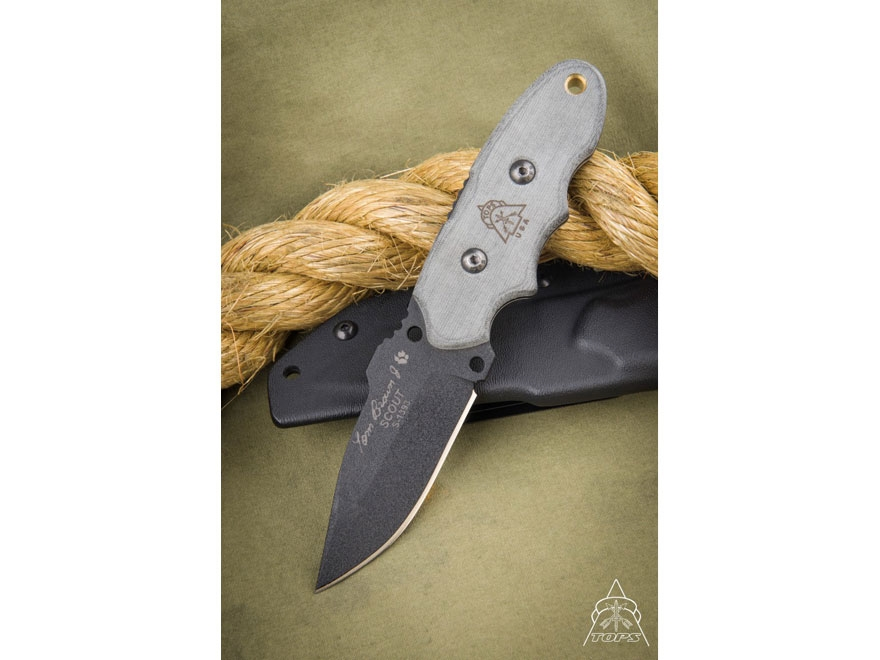 "TOPS Tom Brown Tracker Scout Fixed Blade Survival Knife 3.25"" Drop Point 1095 Steel Bla..."
