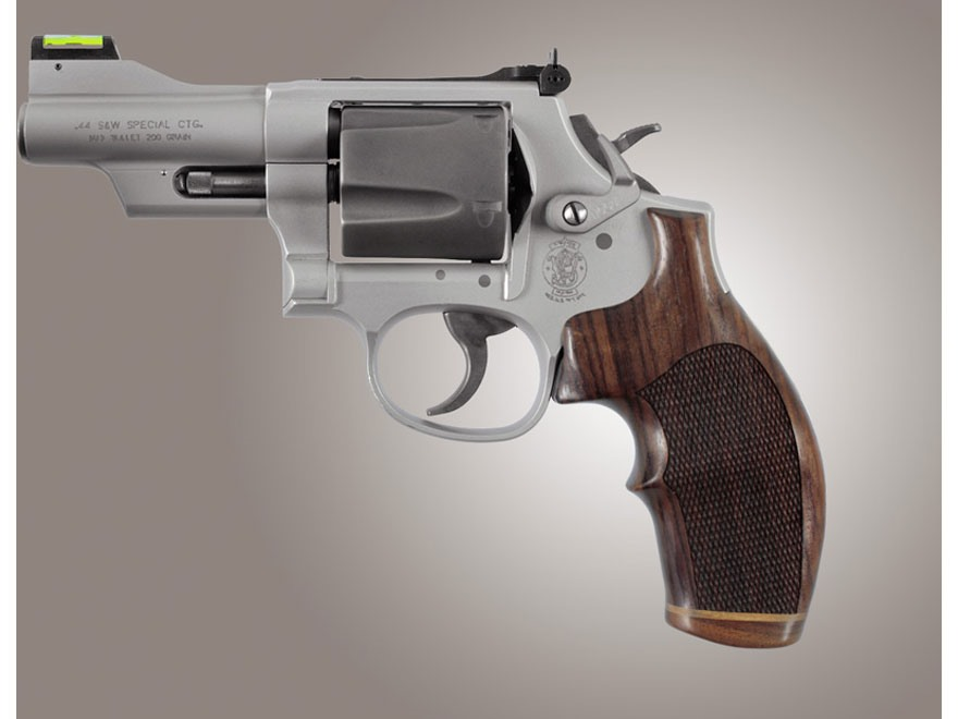 Hogue Fancy Hardwood Grips with Accent Stripe and Top Finger Groove S&W K, L-Frame Roun...