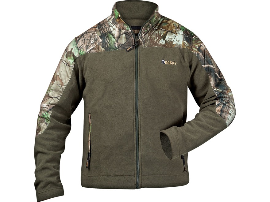 Rocky Men's Fleece Jacket Polyester Realtree APG Camo and Forest Green Large 42-44