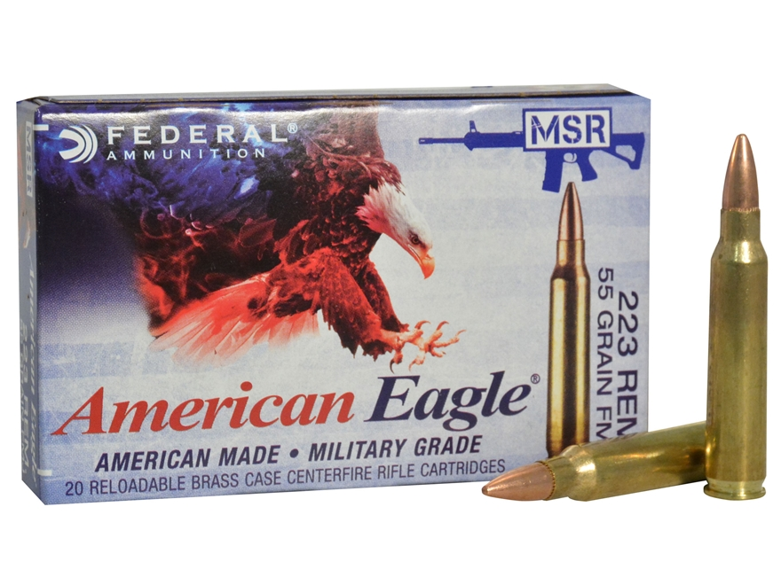Federal American Eagle Tactical Ammunition 223 Remington 55 Grain Full Metal Jacket Boa...