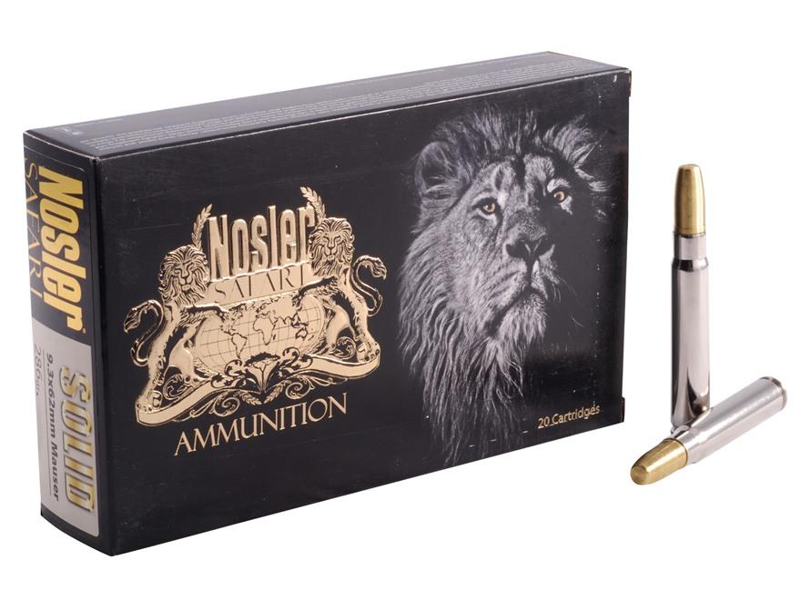 Nosler Safari Ammunition 9.3x62mm Mauser 286 Grain Solid Box of 20
