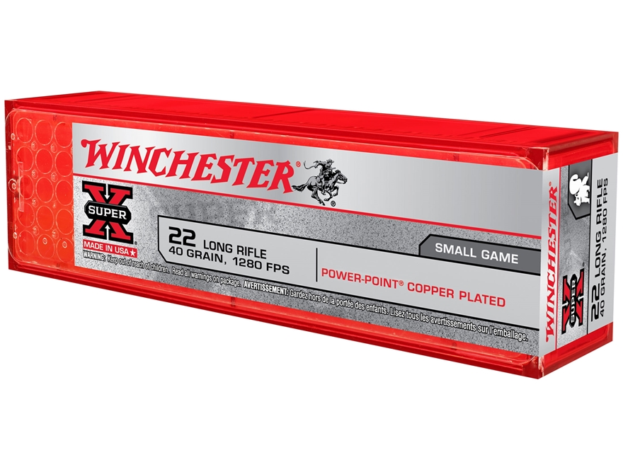 Winchester Super-X High Velocity Ammunition 22 Long Rifle 40 Grain Power-Point Lead Box...