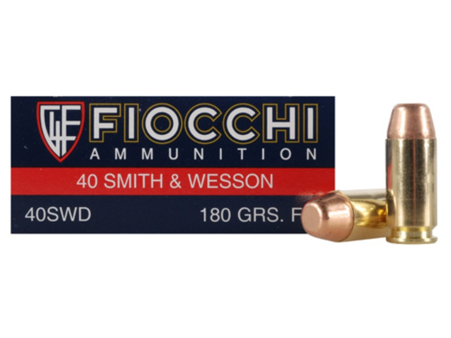 Fiocchi Shooting Dynamics Ammunition 40 S&W 180 Grain Full Metal Jacket Flat Nose Box o...