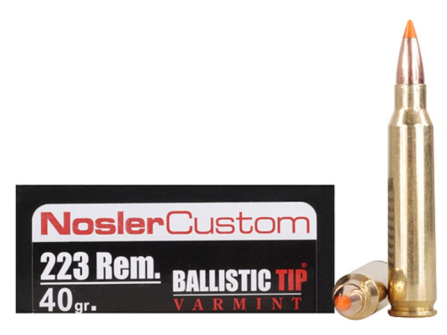 Nosler Trophy Grade Ammunition 223 Remington 40 Grain Ballistic Tip Varmint Spitzer Box...