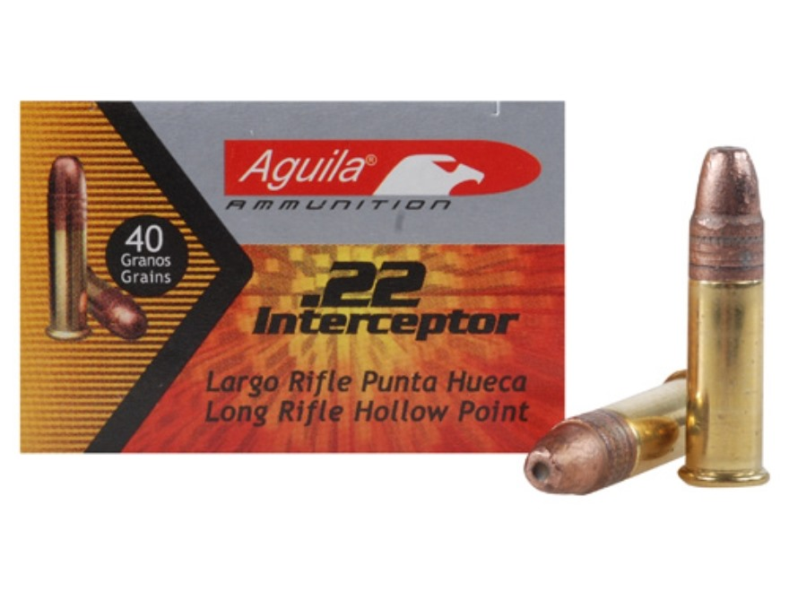 Aguila Interceptor Ammunition 22 Long Rifle 40 Grain Plated Lead Hollow Point Box of 50