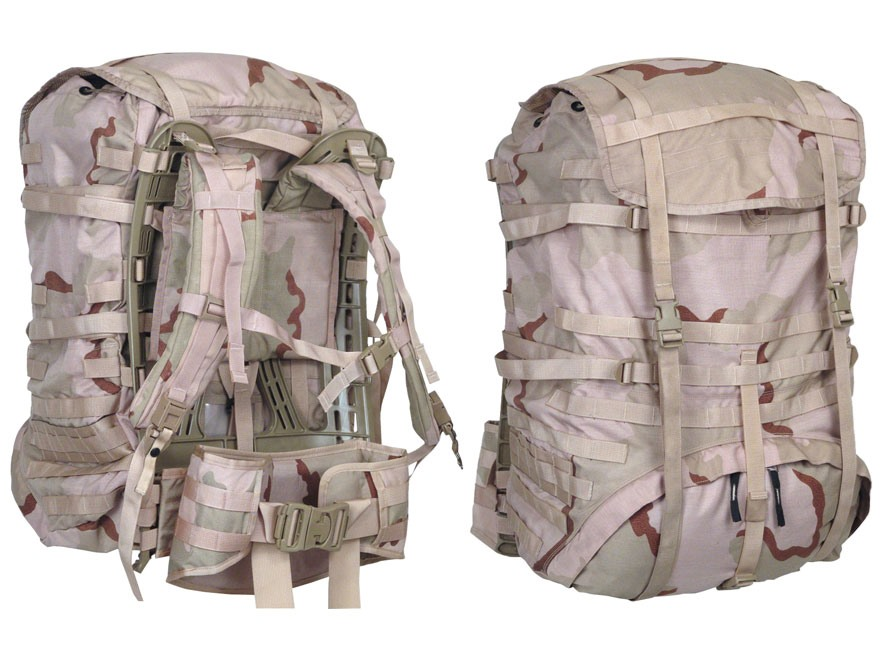 Military Surplus MOLLE II Large Rucksack Complete Assembly Grade 1 Nylon Desert Camo