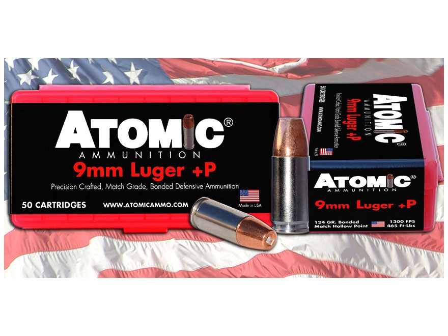 Atomic Ammunition 9mm Luger +P 124 Grain Bonded Jacketed Hollow Point Box of 50