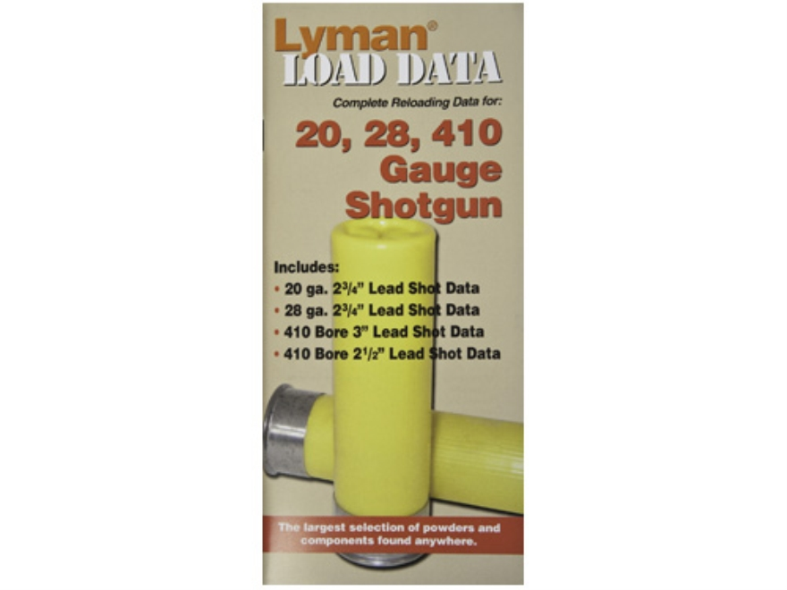 Lyman Load Data Book 16, 20, and 28 Gauges and 410 Bore