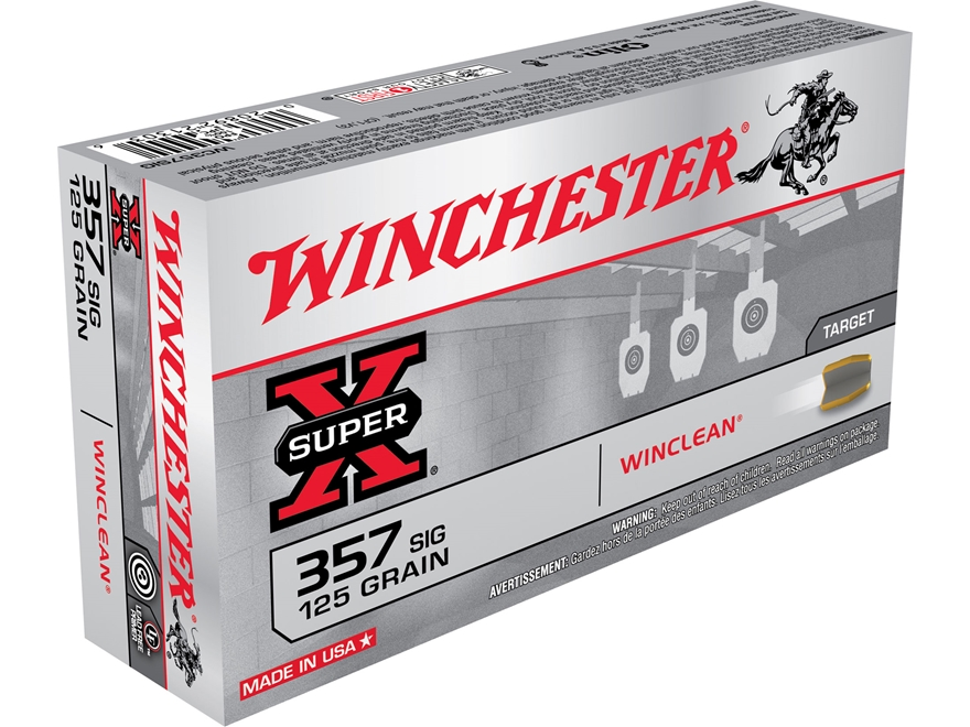 Winchester WinClean Ammunition 357 Sig 125 Grain Brass Enclosed Base Box