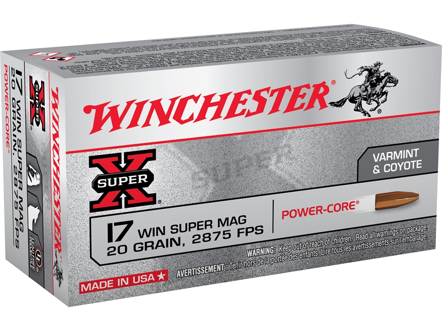 Winchester Power Core Ammunition 17 Winchester Super Magnum 20 Grain Copper Hollow Poin...