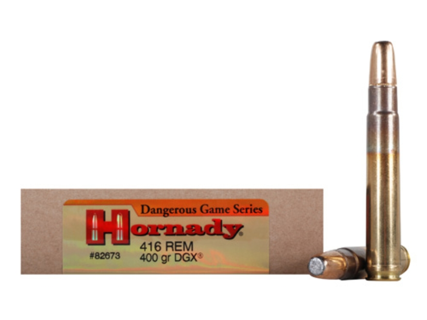 Hornady Dangerous Game Ammunition 416 Remington Magnum 400 Grain DGX Flat Nose Expandin...