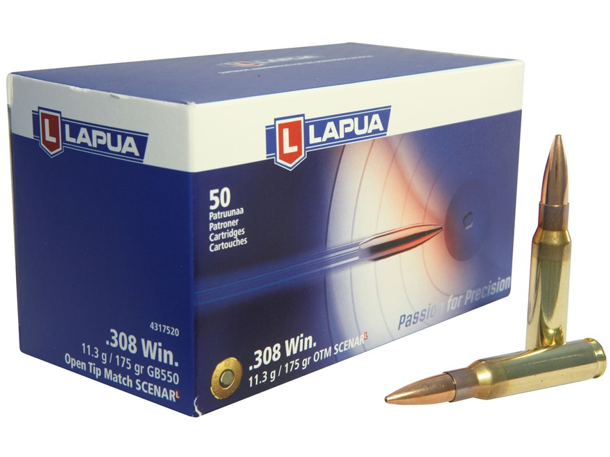 Lapua Scenar-L Ammunition 308 Winchester 175 Grain Hollow Point Boat Tail Box of 50