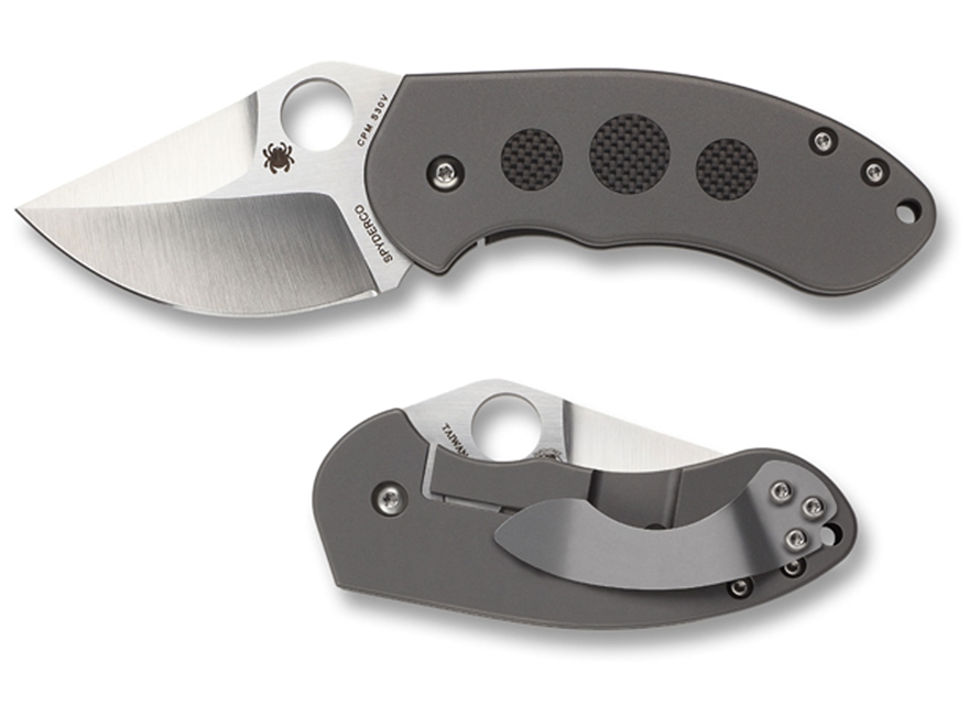 "Spyderco Burch Chubby Folding Pocket Knife 2.3"" Drop Point CPM S3V Blade Titanium Handl..."