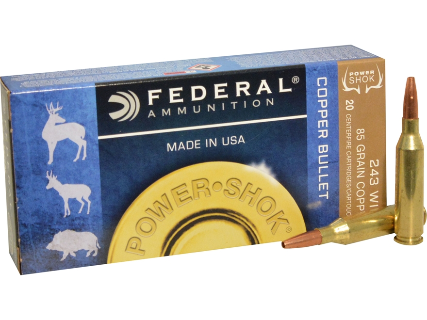 Federal Power-Shok Ammunition 243 Winchester 85 Grain Copper Hollow Point Lead-Free Box...