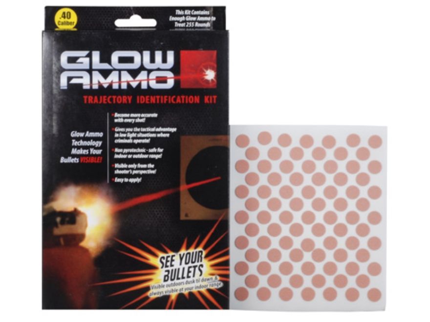 Glow Ammo Trajectory Identification Kit 40 Caliber (380 Diameter) 1 grain box of 255 Re...