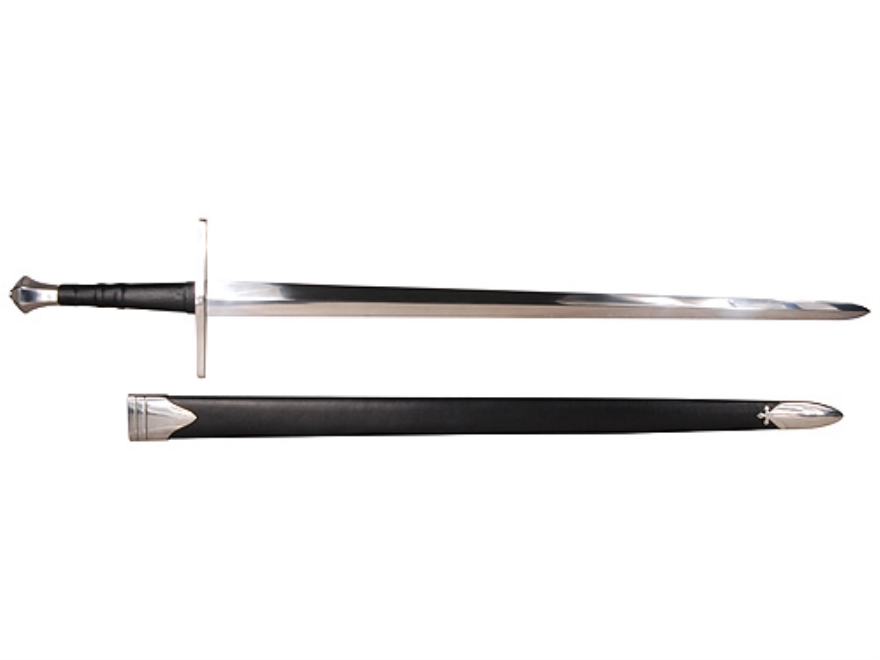 """Cold Steel Hand-And-A-Half Sword 33-1/2"""" 1055 Carbon Steel Blade Leather Wrapped Handle..."""