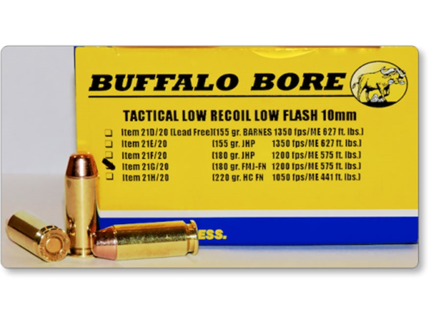 Buffalo Bore Tactical Low Recoil Ammunition 10mm Auto 180 Grain Full Metal Jacket Flat ...