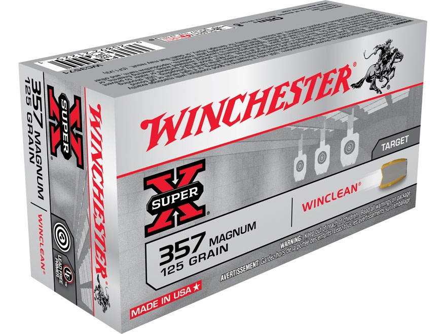 Winchester WinClean Ammunition 357 Magnum 125 Grain Jacketed Flat Nose