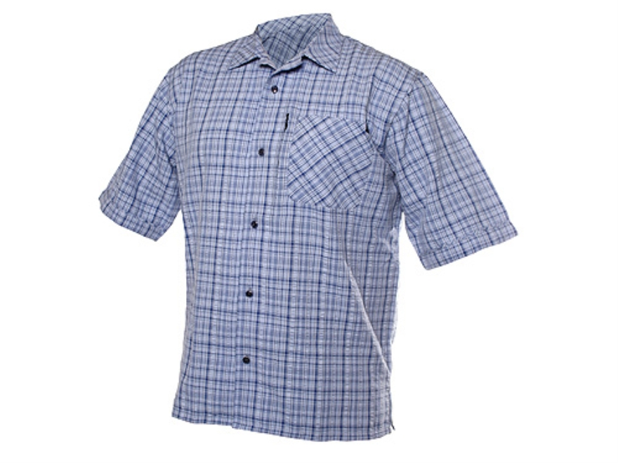 "BLACKHAWK! 1700 Textured Weave Plaid Shirt Short Sleeve Synthetic Blend Blue 2XL (50"" t..."