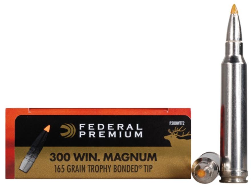Federal Premium Vital-Shok Ammunition 300 Winchester Magnum 165 Grain Trophy Bonded Tip...
