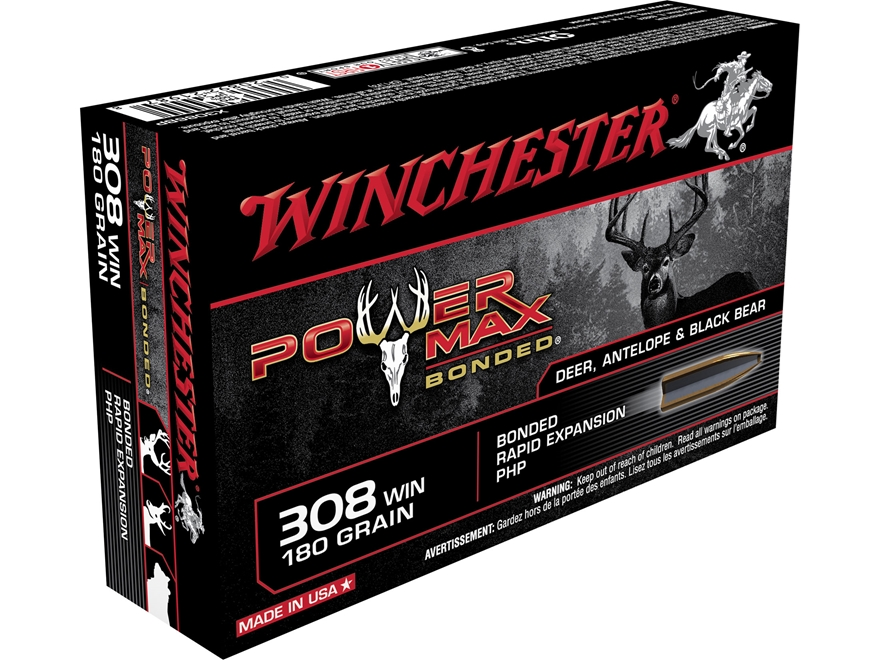 Winchester Power Max Bonded Ammunition 308 Winchester 180 Grain Protected Hollow Point ...
