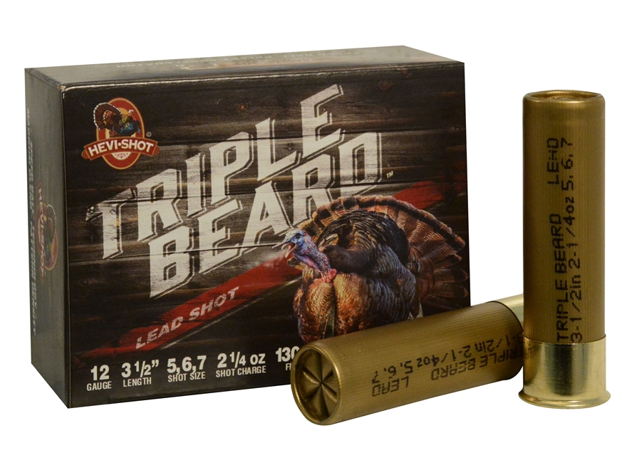 "Hevi-Shot Triple Beard Turkey Ammunition 12 Gauge 3-1/2"" 2-1/4 oz #5, #6, & #7 Shot Box..."