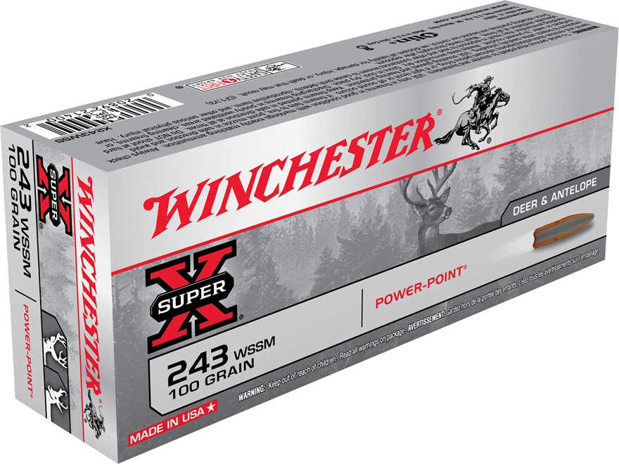 Winchester Super-X Ammunition 243 Winchester Super Short Magnum (WSSM) 100 Grain Power-...
