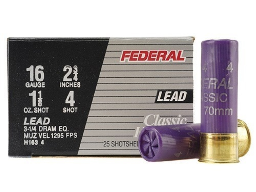 "Federal Game-Shok Hi-Brass Ammunition 16 Gauge 2-3/4"" 1-1/8 oz #4 Shot Box of 25"