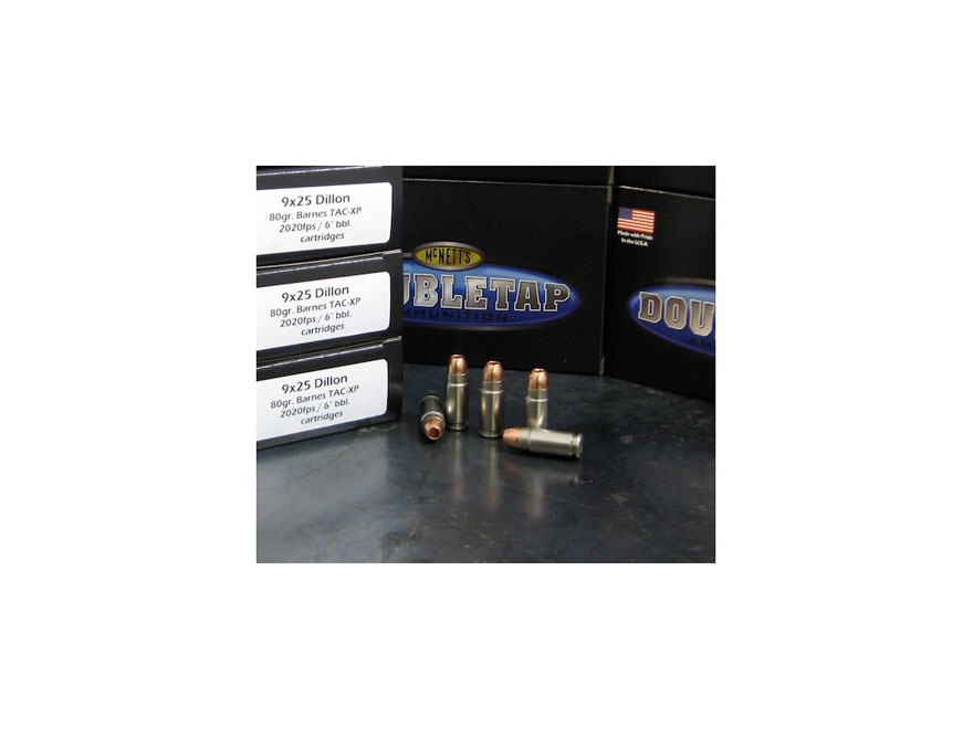 Doubletap Ammunition 9x25mm Dillon 80 Grain Barnes TAC-XP Hollow Point Lead-Free Box of 20