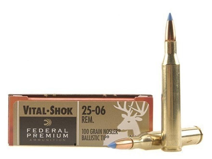 Federal Premium Vital-Shok Ammunition 25-06 Remington 100 Grain Nosler Ballistic Tip Bo...