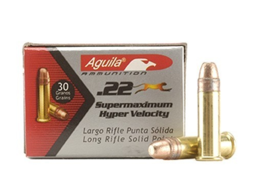Aguila Super Maximum Ammunition 22 Long Rifle 30 Grain Plated Lead Round Nose Box of 50...