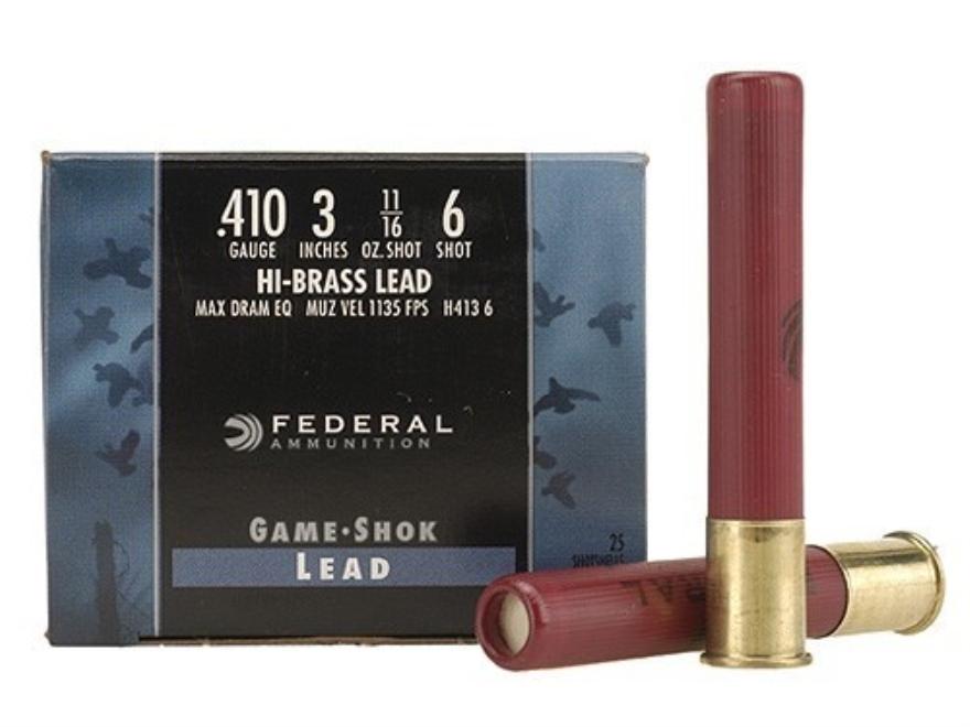 "Federal Game-Shok Hi-Brass Ammunition 410 Bore 3"" 11/16 oz #6 Shot"