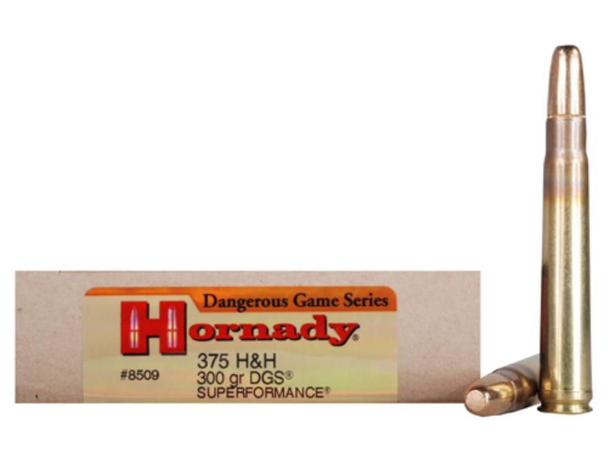 Hornady Dangerous Game Superformance Ammunition 375 H&H Magnum 300 Grain Round Nose Sol...