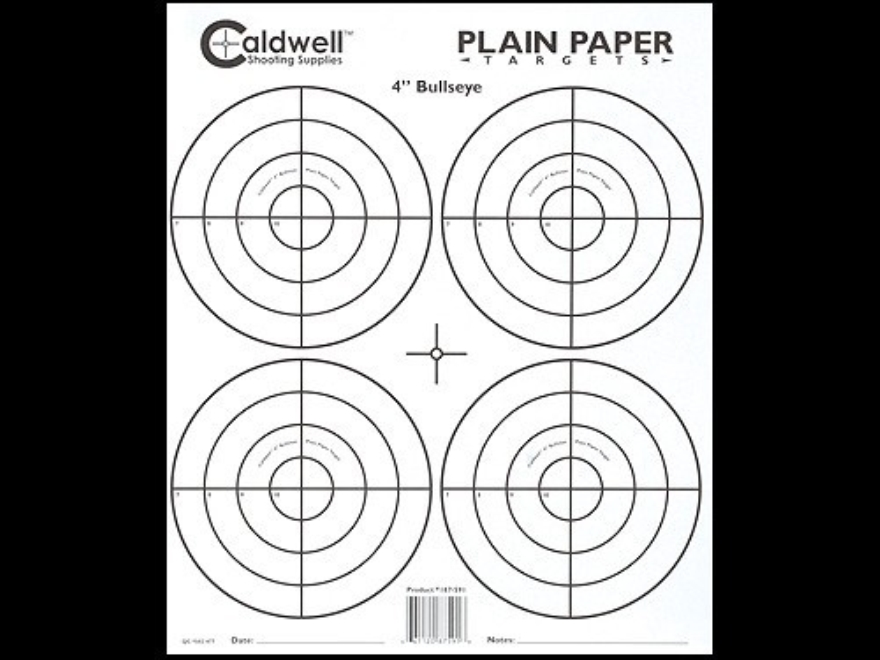 "Caldwell Plain Paper Target 4"" Bullseye Package of 25"