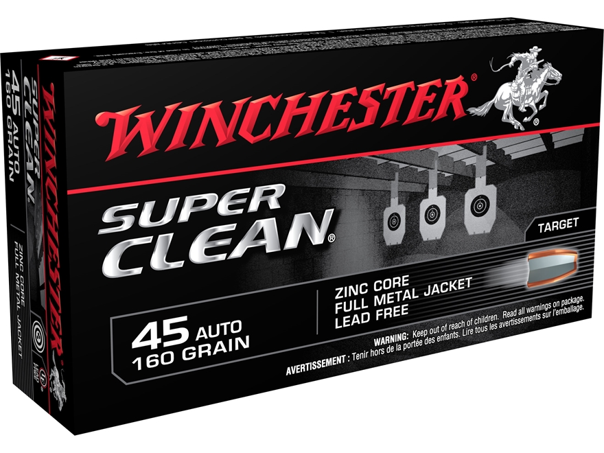 Winchester Super Clean NT Ammunition 45 ACP 160 Grain Full Metal Jacket Lead-Free