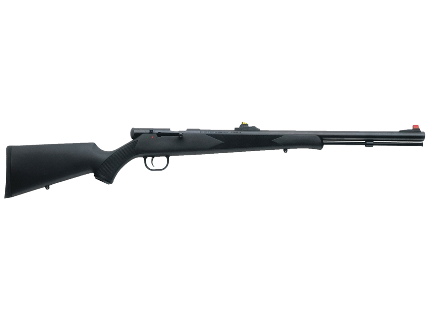 "Traditions Tracker Muzzleloading Rifle 50 Caliber 24"" Blue Barrel Synthetic Stock Black"