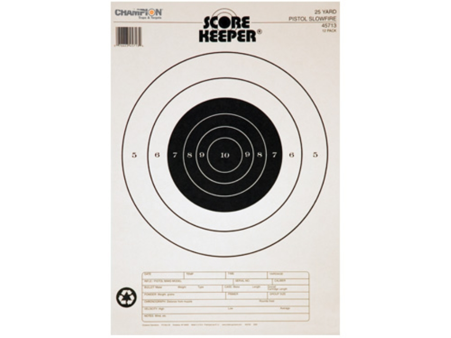 "Champion Score Keeper 25 Yard Slow Fire Pistol Target 12"" x 16"" Paper Black Bull Packag..."