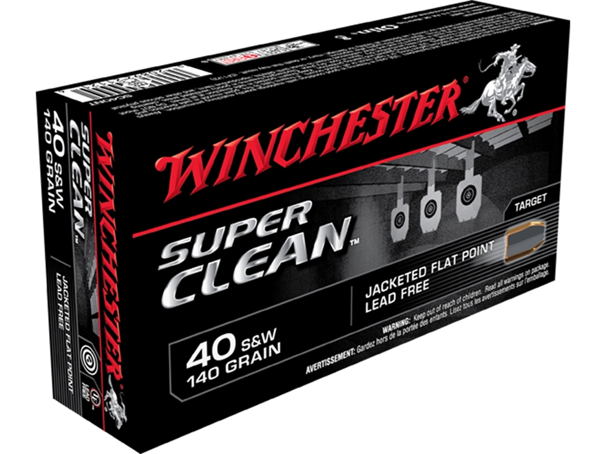 Winchester Super Clean NT Ammunition  40 S&W 140 Jacketed Flat Point Lead-Free