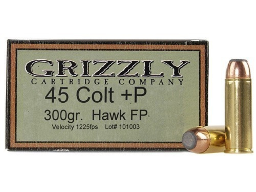 Grizzly Ammunition 45 Colt (Long Colt) +P 300 Grain Bonded Core Jacketed Flat Point Box...